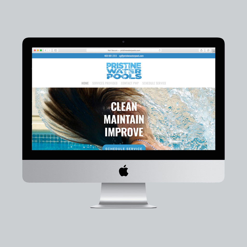Pristine Water Pools, Website Design, complex website, wordpress site, digital design, website designer, mobile designer, responsive design, mobile-first design