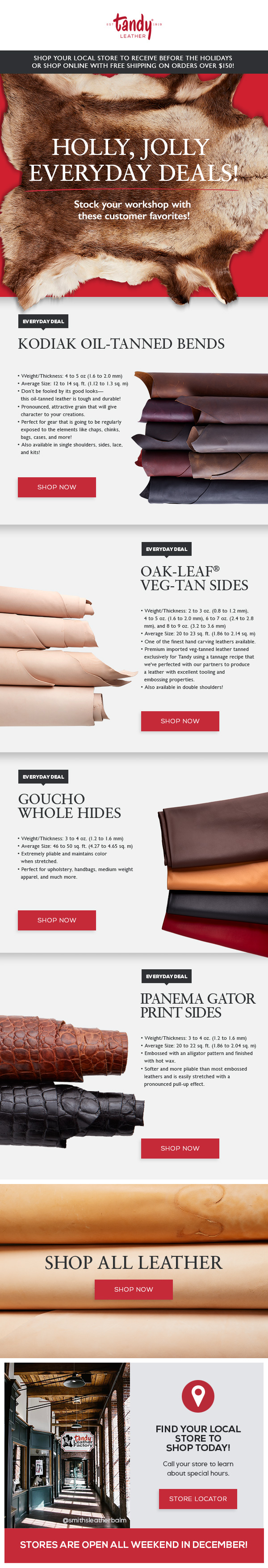 tandy leather, leather and hides, leather company, retail emails, email design, coding emails, Website Design, complex website, wordpress site, digital design, website designer, mobile designer, responsive design, mobile-first design, animated gif, animation